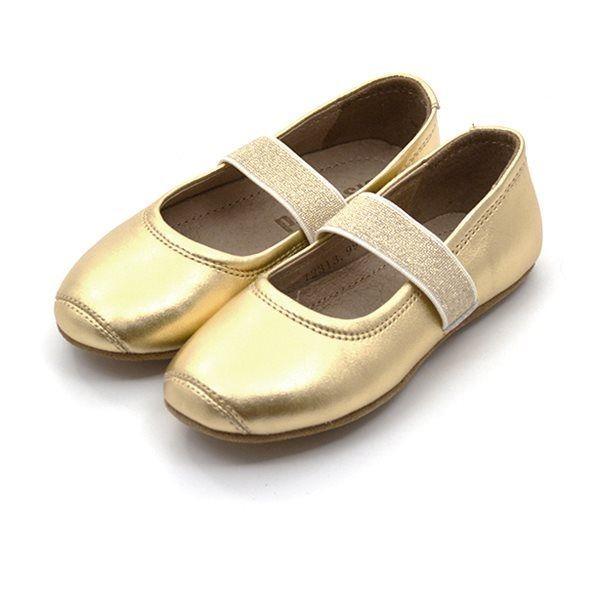Bisgaard Ballerina Hausschuh mit Gummiband, gold