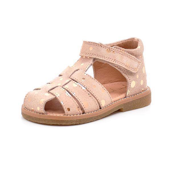 c350889b55a GrowingFeet.de - Pom Pom Sandale gepunktet, rose/bronze dots