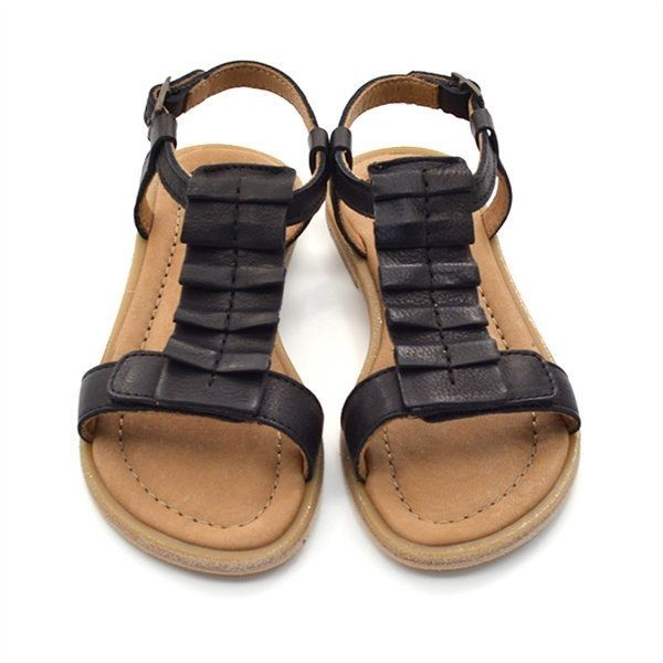 bisgaard sandale mit f ltchen schwarz. Black Bedroom Furniture Sets. Home Design Ideas