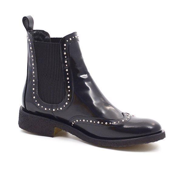 Angulus Chelsea boot Stiefelette Nieten, schwarz