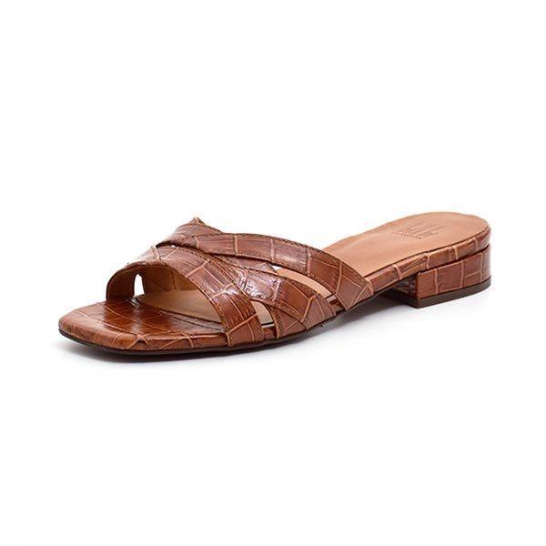 Billi Bi Sandale Slip-in Croco, brandy