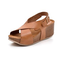 AMUST Alma Korkwedge Sandale, light tan