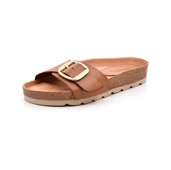 AMUST Gry Big Buckle Pantoletten Sandale, light tan