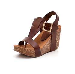 AMUST Ane High Korkwedge Sandale, cognac